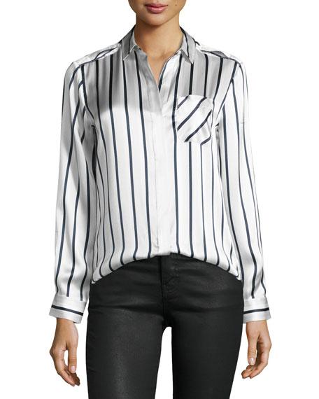 ATM Anthony Thomas Melillo Long-Sleeve Striped Silk Charmeuse