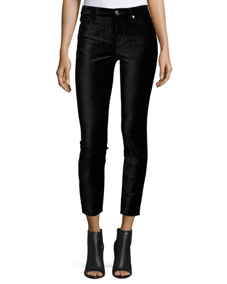 The Ankle Skinny Velvet Jeans, Black