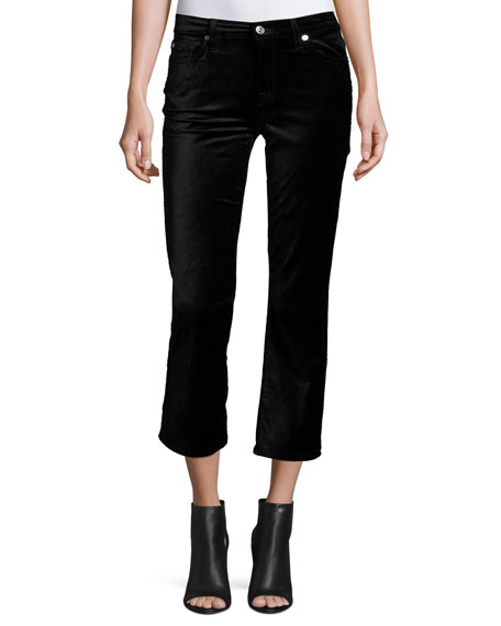 7 For All Mankind Cropped Boot-Cut Velvet Jeans,