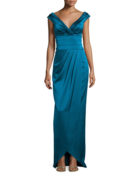 Kay Unger New York Cap-Sleeve Ruched Column Gown,