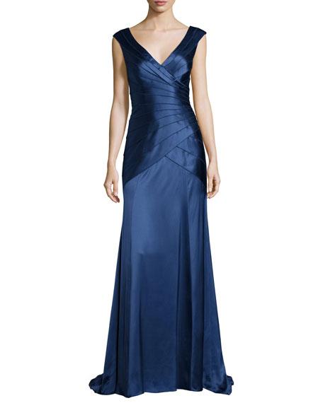 Sleeveless Tiered Satin Gown, Indigo