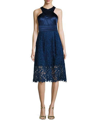 Sleeveless Satin & Lace Cocktail Dress, Indigo