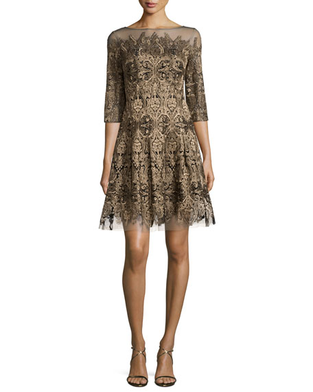 Kay Unger New York 3/4-Sleeve Embroidered Fit-and-Flare Dress,