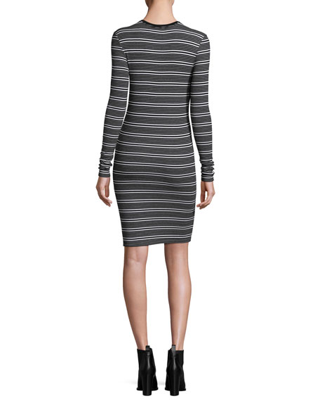 Long-Sleeve Engineered Striped Ribbed Dress, Black/White