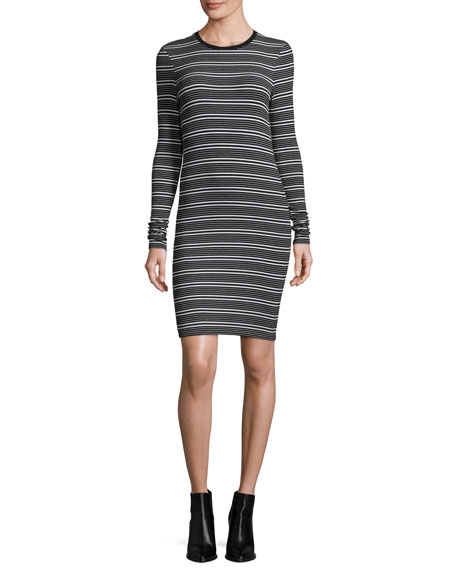 ATM Anthony Thomas Melillo Long-Sleeve Engineered Striped Ribbed