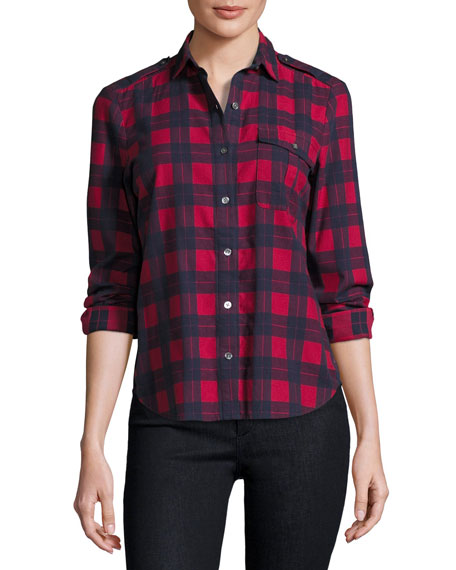 Long-Sleeve Flannel Plaid Button-Front Blouse, Hollyberry/Midnight