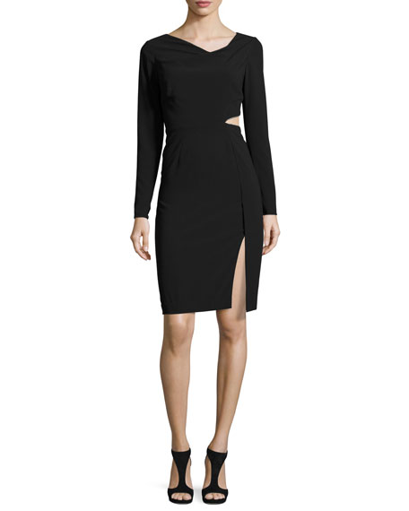 Halston Heritage Long-Sleeve Cutout Sheath Dress, Black