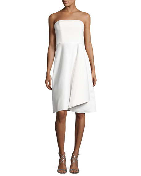 Halston Heritage Strapless Draped Cocktail Dress, Eggshell
