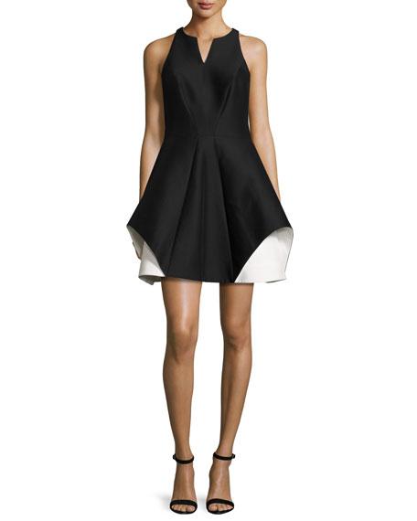 Halston Heritage Sleeveless Fit-and-Flare Faille Dress, Black/Chalk