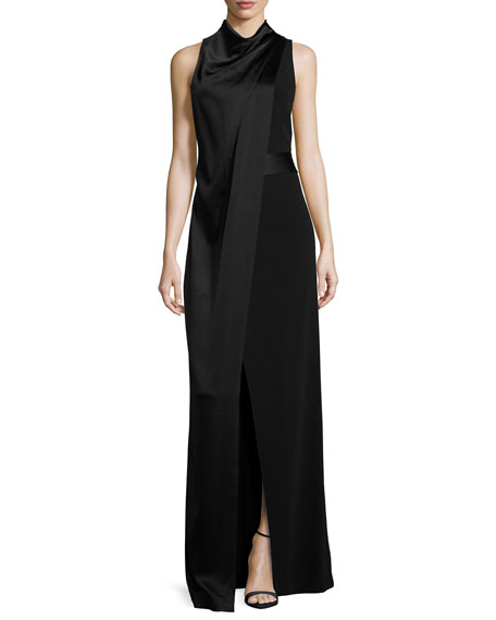 Sleeveless Satin & Crepe Column Gown, Black