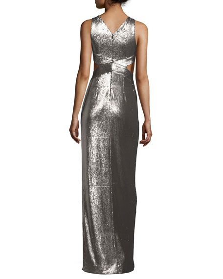 Sleeveless Cutout Metallic Column Gown, Antique Silver