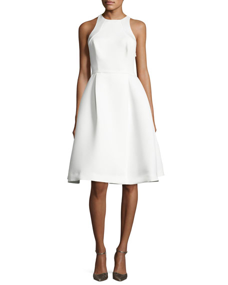 Halston Heritage Sleeveless Structured Cutout Crepe Dress,