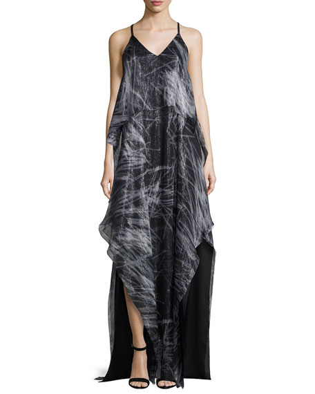 Halston Heritage Sleeveless V-Neck Print Chiffon Gown, Black