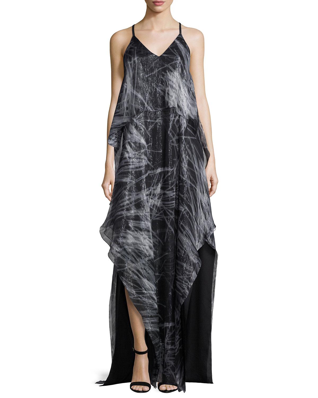 Halston Heritage Sleeveless V-Neck Print Chiffon Gown, Black ...