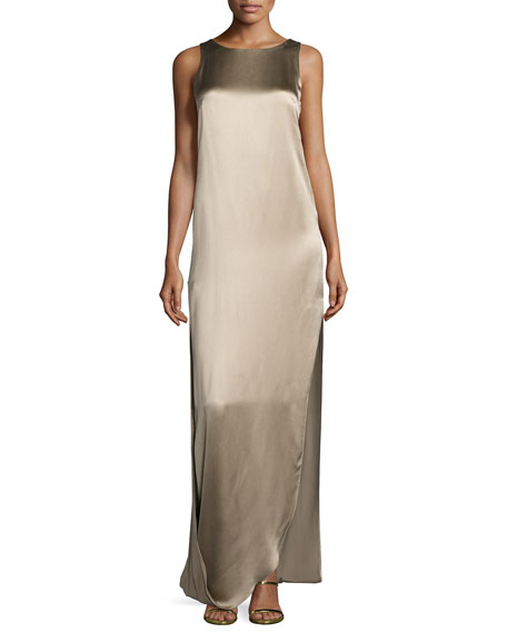 Halston Heritage Sleeveless Satin & Matte Column Gown,