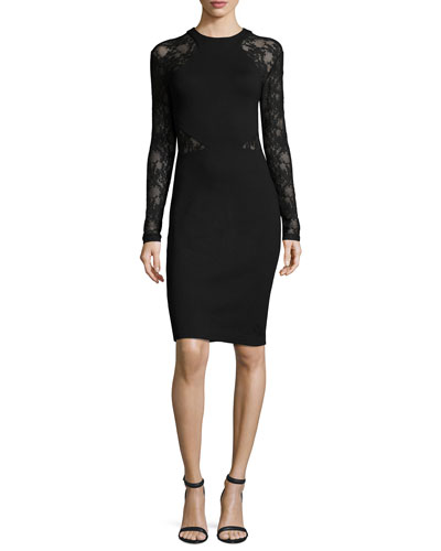 Viven Lace-Inset Sheath Dress, Black