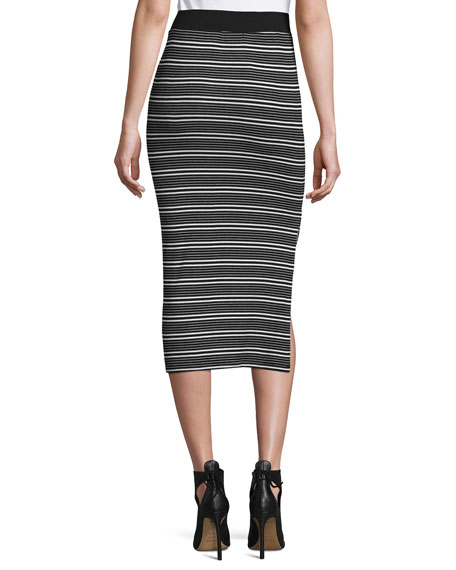 Engineered Striped Ribbed Pencil Skirt, Black/White