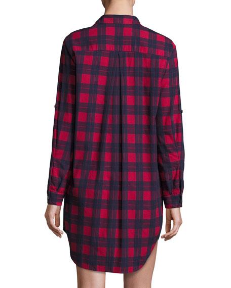 Long-Sleeve Flannel Plaid Shirtdress, Red/Blue