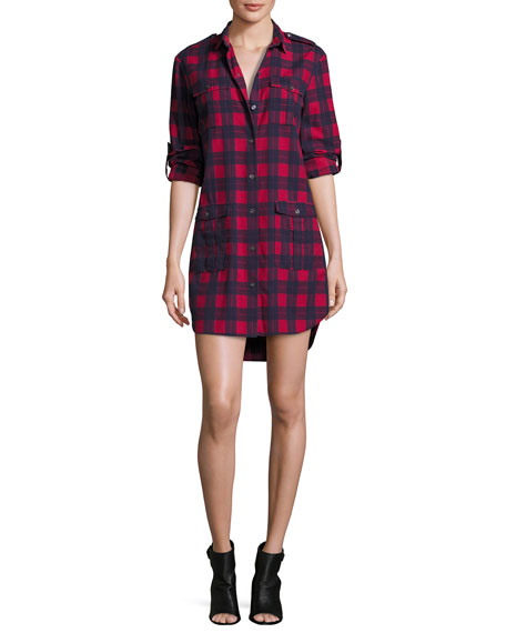 ATM Anthony Thomas Melillo Long-Sleeve Flannel Plaid Shirtdress,