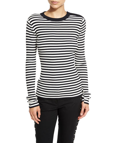 Keenan Ribbed Striped Sweater, Midnight/White