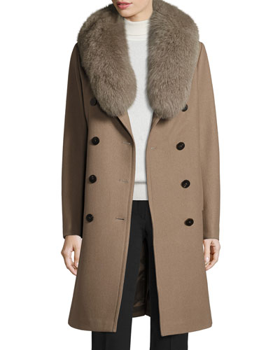 Long Double-Breasted Pea Coat w/ Fox Fur Collar  Musk