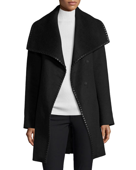 Wool-Blend Wrap Coat w/ Whipstitched Leather Trim, Black