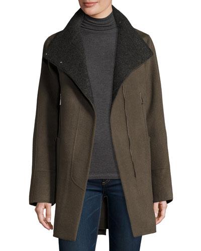 Double-Faced Wool-Blend Swing Coat  Deep Mocha