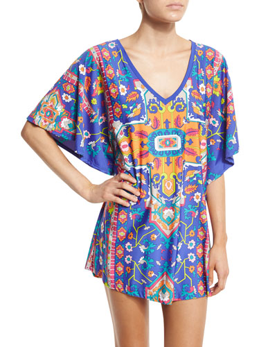 Tapestry Printed Tunic Coverup, Multi