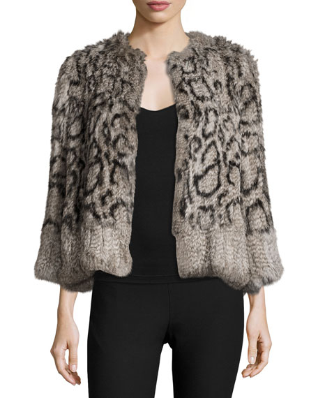 Elizabeth and James Cassidy Short Rabbit Fur Jacket,