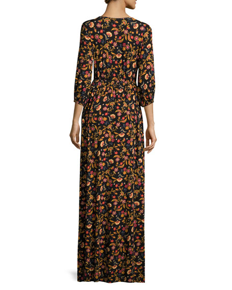 Armand Floral-Print Long Slit-Front Maxi Dress