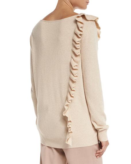 Odell V-Neck Ruffle-Trim Sweater, Champagne
