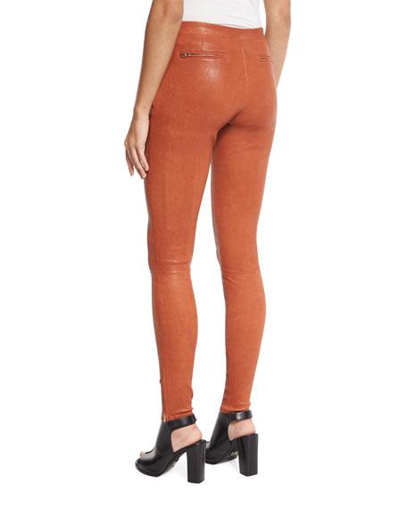 Xavier Zip-Trim Leather Leggings, Cinnamon