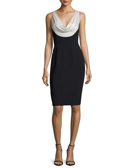 Carmen Marc Valvo Sleeveless Silk-Trim Crepe Sheath Dress,