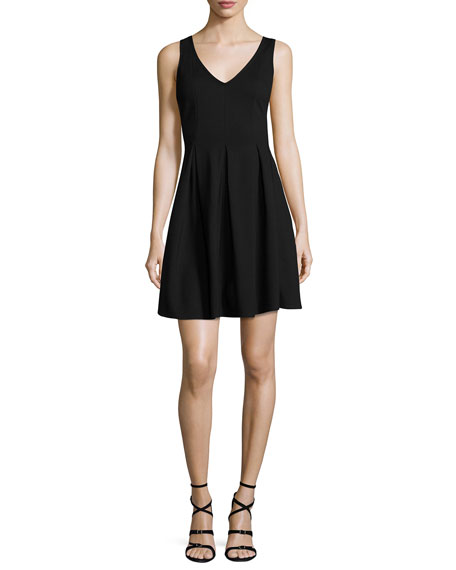 Sleeveless Pleated Fit-and-Flare Dress, Black