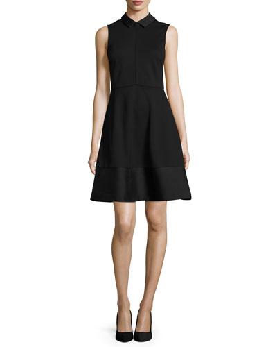 Sleeveless Collared A-Line Dress, Black