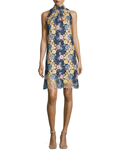 Sleeveless Floral Lace Cocktail Dress, Navy/Multicolor