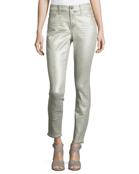 NYDJ Metallic Mid-Rise Skinny Jeans, Silver