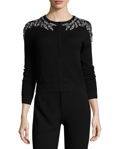 Crystal-Embellished Cashmere Cardigan, Black