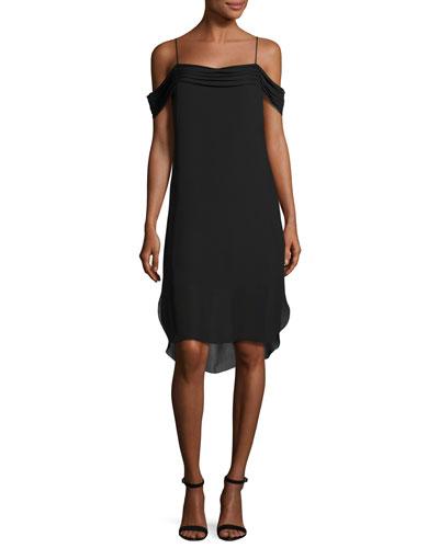 Cold-Shoulder Silk Georgette Dress, Black