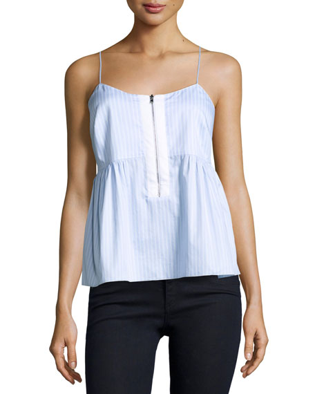 Eloise Striped Poplin Tank, Light Blue/White