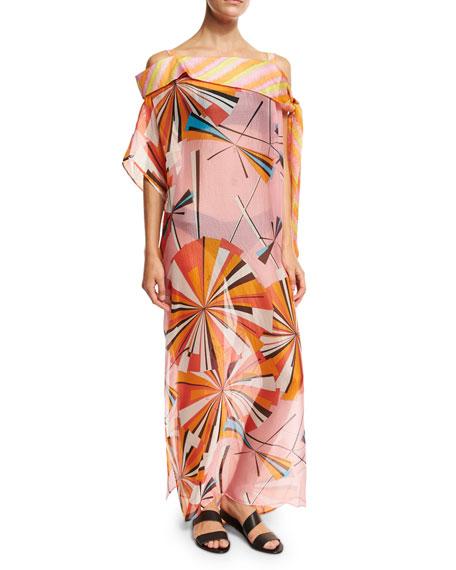 Emilio Pucci Parasol Silk Maxi Caftan Coverup, Pink