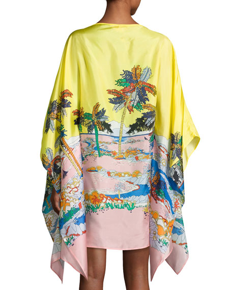Bermuda Tropical-Print Silk Caftan Coverup, Giallo/Rosa