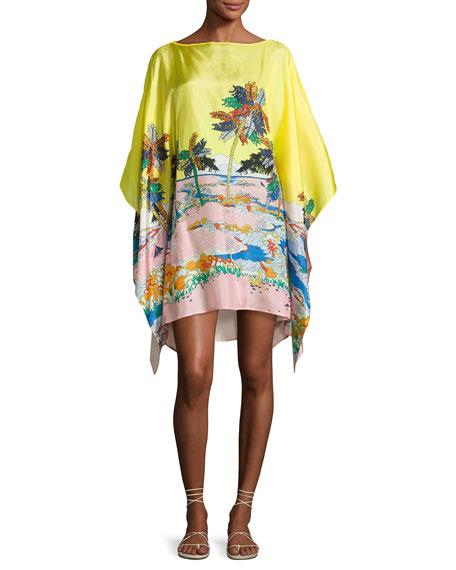 Emilio Pucci Bermuda Tropical-Print Silk Caftan Coverup,