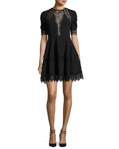 Lace-Trim Crepe Short-Sleeve Dress