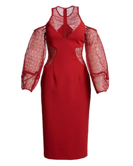 Cold-Shoulder Lace & Crepe Cocktail Dress