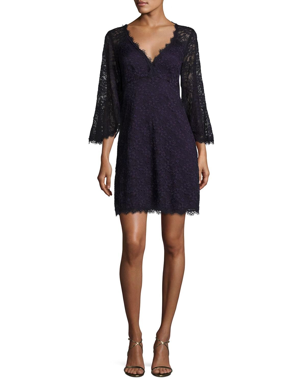 7762385884e1 Nanette Lepore Bell-Sleeve Floral Lace Mini Dress