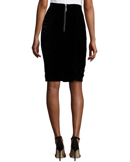nanette lepore velvet pencil skirt black