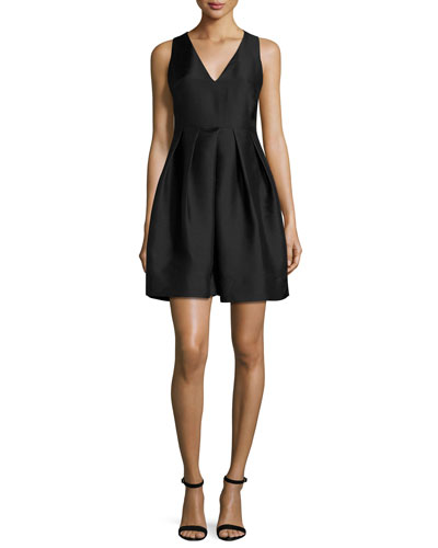 Sleeveless Structured Satin Cocktail Dress, Black