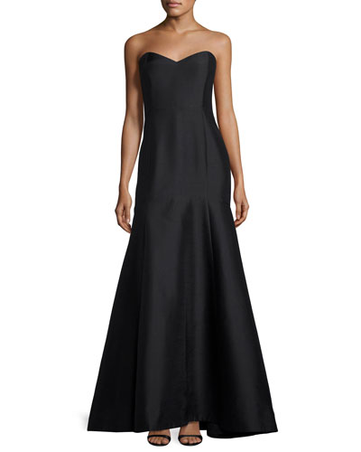 Strapless Sweetheart Satin Gown, Black