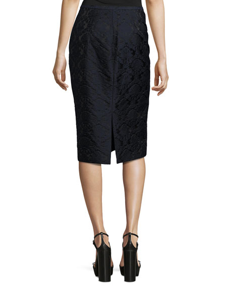 Damask Jacquard Pencil Skirt, Black/Navy